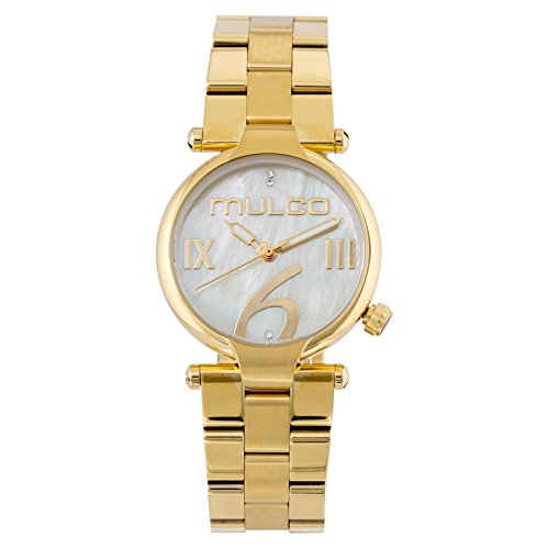 Mulco Mini Metal Watch- Authentic Mother Pearl Dial- All Gold Stainless Steel- Swarovski crystals- Quartz Movement- Water Resistant- Women's Fashion MW5-5191-122
