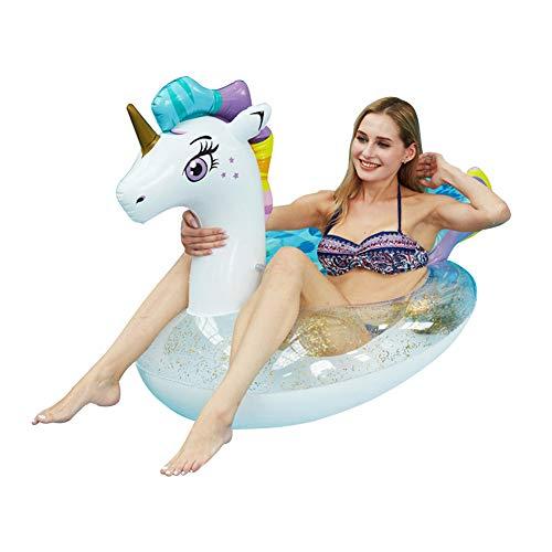 WYJHNL Aufblasbares Einhorn Schwimmtier Schwimmring mit Glitzer, Schwimmreifen Luftmatratze Pool Spielzeug Pool Floß Wasserspielzeug für Erwachsene Kinder
