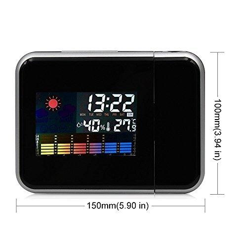 SUNJAS Wetterstation LED Digital Farbdisplay Projektor Alarm Clock Wecker Uhr Thermometer Hygrometer