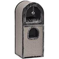 nanook-Kratztonne Luca - abgerundetes Dach - viel Kratzfäche - standfest für Schwere Katzen 19 kg - 101 x 41 x 41 cm - grau