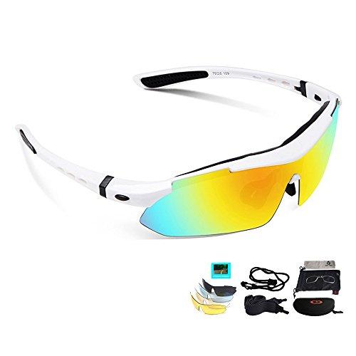 Unisex Radbrille Sportbrille Sonnenbrille, UV-Schutz, 5 Wechselgläser inkl. Schwarze polarisierte Linse, für Outdooraktivitäten wie Radfahren Laufen Klettern usw. (Weiß)