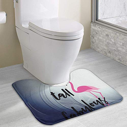Hoklcvd Flamingo U-förmige Toilette Bodenbelag Rutschfeste Toilette Teppiche Badezimmer Teppichboden - Kardinäle Polyester