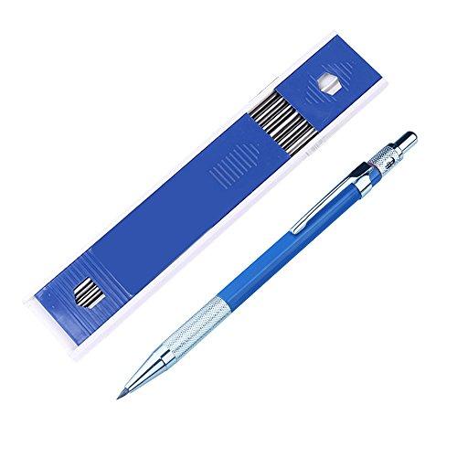 Portaminas, lápiz de 2 mm, lápiz automático para manualidades y carpintero, oficina y papelería escolar 15.5 * 2.8cm azul