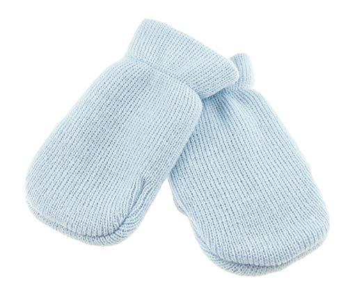 guantini neonato Baby Girls Boys Block Colour Warm Winter Gathered foderato fine Knit Mittens neonato - 6 mesi blu Blue taglia unica