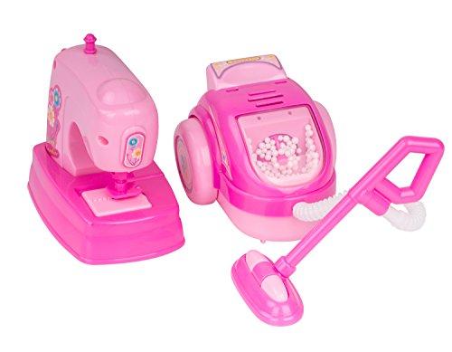 Zooawa Giocattolo di Modellino Machina da Cucire + Aspirapolvere da Casa per Bambini, Rosa