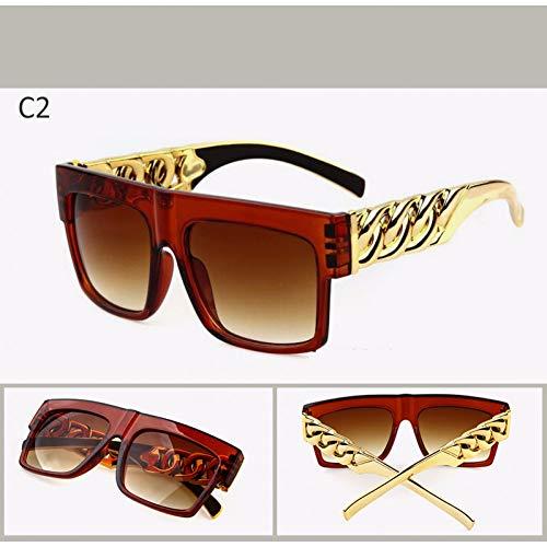 CCGKWW Mode Gold Metallkette Sonnenbrillen Vintage Hip Hop Sonnenbrille Gafas De Sol Uv400