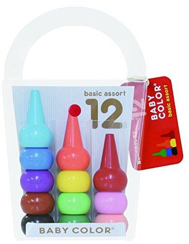 1 X Aozora Baby Color Stackable Crayon Bit - 12 Basic Color Set by Java sparrow