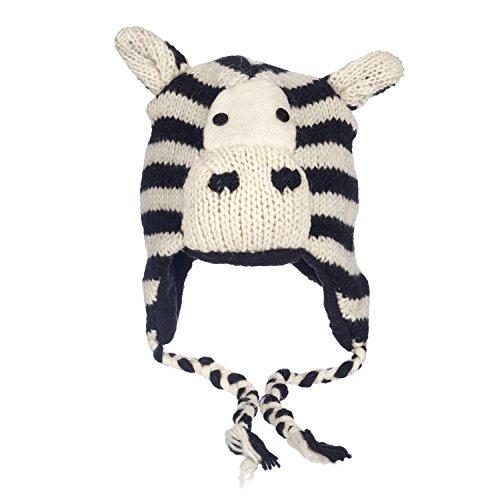 (Zebra-Wintermütze, lustig, handgefertigt, Tiermütze mit Vlies-Futter, Unisex)