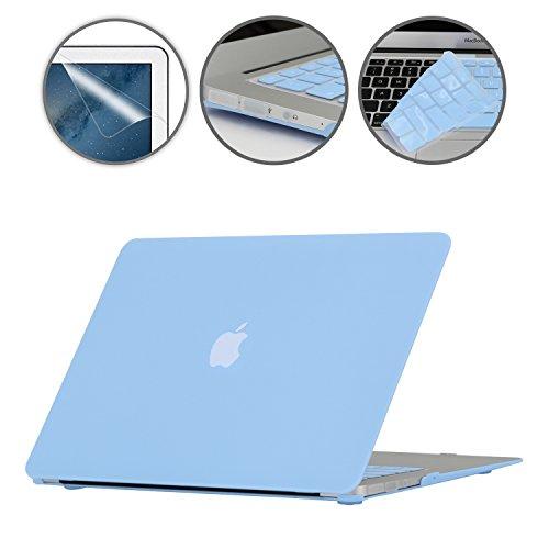 i-Buy Mate Caso de Shell duro + cubierta del teclado + Protector de pantalla + enchufe del polvo para Apple Macbook Air 13 pulgadas (Modelo A1369 A1466)- Azul de Airy