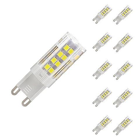 G9 LED Lampe 5W Glühlampe Ersatz für Halogenlampe 6000-7000K 350LM Nicht Dimmbar 51 SMD 2835 Omni-direktionales Licht mit Keramik-Lampenfassung Energiesparlampe 220-240V weiß(10Stück)