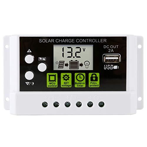 ACBungji 30A 12V / 24V Solarregler PWM Solar Regler Laderegler für Lithium-Batterie Solarpanel Solarmodul Aufladen Mit USB Ladegerät LCD Anzeige Kompatibel mit Blei-Säure-Batterie