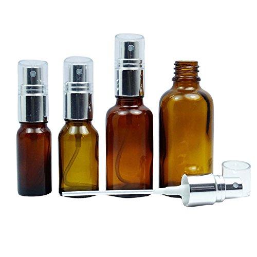 12 Pcs gros vides bouteilles de pulvérisation de verre ambre avec de l'argent atomiseur Cap rechargeable Parfum Vaporisateur Huile Essentielle Boston Round atomiseur Bouteille 20 ML