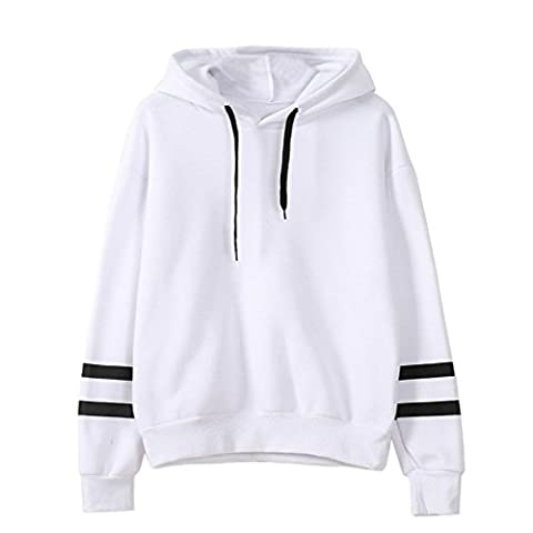 Sweat a Capuche Femme Grande Taille Automne Hiver Tops à Manches Longues Blouse Col Rond Casual Pullover Elegant Pull a Rayures Sweat-shirt Coton Chemisier Blouson Streetwear Hoodie Oversize – Landove