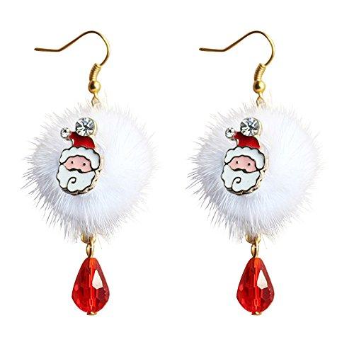 beautijiam Weihnachts-Ohrringe, Plüsch, Weihnachtsmann, Tropfenform, Schmuck, Geschenk für Frauen und Mädchen Santa Claus*