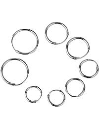 4 Paio Orecchino 925 Sterling Argento Piercing Orecchini Cerchio 8/10/12/14mm