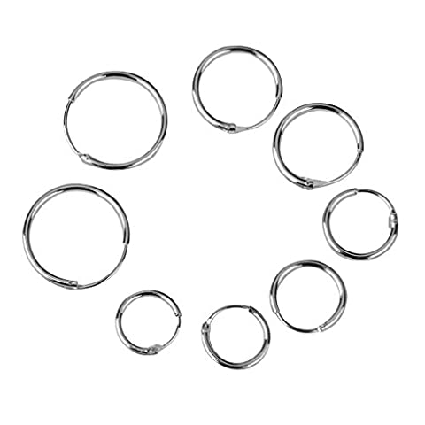 MagiDeal 4 Pairs 925 Sterling Silver Endless Round Hoops Sleeper Earrings Ear Jewellery 8 10 12 14mm