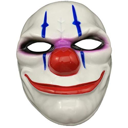 Frauen Clown Dead Kostüm - YIDAINLINE Mode Halloween Maske Hochwertige Clown Maske Heist Ketten Maske Weiß Flying Winger - perfekt für Fasching, Karneval & Halloween - Kostüm für Erwachsene - Latex, Unisex Einheitsgröße