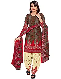 71c49056e3 Rensila Fab Women s French Crepe Dress Material with Dupatta  (RFON 1089 D Brown Free Size)