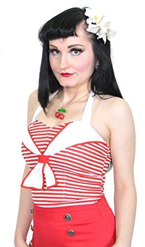 ... Küstenluder VIVIAN Sailor Matrosen NECKHOLDER Top Rockabilly Rot / Weiß  ...