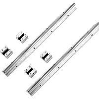 Akozon 10mm Carriles de deslizamiento lineal y bloques,2pcs SBR10-400mm Rodamiento lineal, 4 SBR10UU bloques