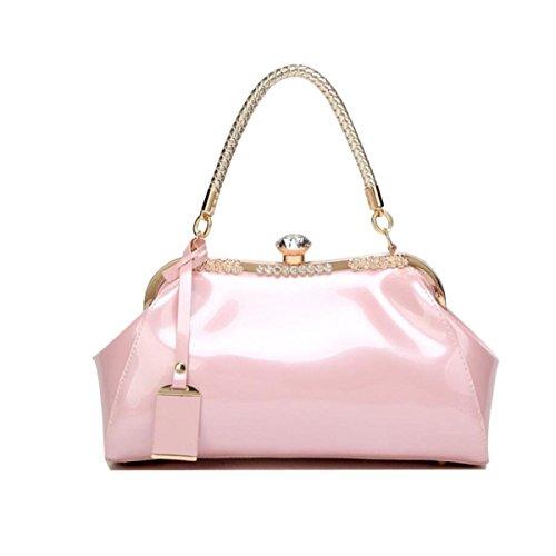 Europäisch Und Amerikanisch Mode Brauttasche Lackleder Glänzend Einfach Handtasche Kristall Diamant Elegant Dame Handtasche Pink