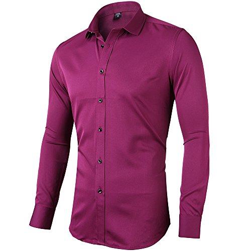 Rot Schwarz Shirt (INFlATION Herren Hemd aus Bambusfaser umweltfreudlich Elastisch Slim Fit für Freizeit Business Hochzeit Reine Farbe Hemd Langarm,DE L (Etikette 42),Rot)