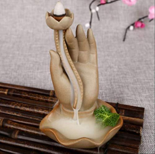 ZAAQ Räucherstäbchenhalter Lotus Buddha Hand Keramik Reflux Räucherofen Räucherofen Weihrauch Duftenden Sandelholz Kreative Retro-Zuhause Ornamente Hersteller Großhandel
