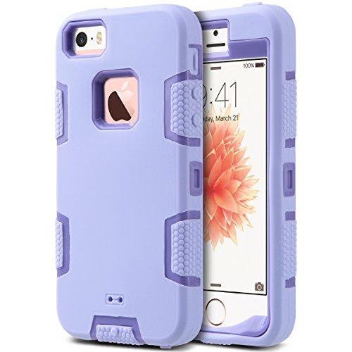 iPhone 5s SE Hülle, ULAK iPhone 5S Case 3in1 Stoßfest Hybrid High Impact Hart PC und Weiche Silikon Schutzhülle Tasche Case Cover für Apple iPhone 5/5S/SE (Schwarz+Lila) 3in1-Lila