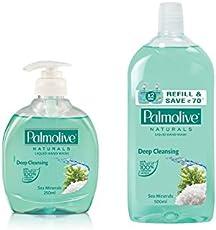 Palmolive Natural Handwash - 250 ml (Sea Mineral) with Naturals Hand Wash Refill - 500 ml (Sea Mineral)