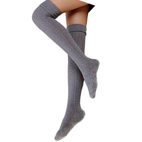 Cindeyar 1 Paar Damen Overknee Strümpfe Lange Kniestrümpfe Retro Schüler Überknie Strick Socken (Hellgrau)