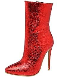 YE Bottines Sexy Femme High Heels Stiletto Hiver Bottes à Talons Hauts  Aiguilles Bout Pointu Ankle cb5a6b14c92f