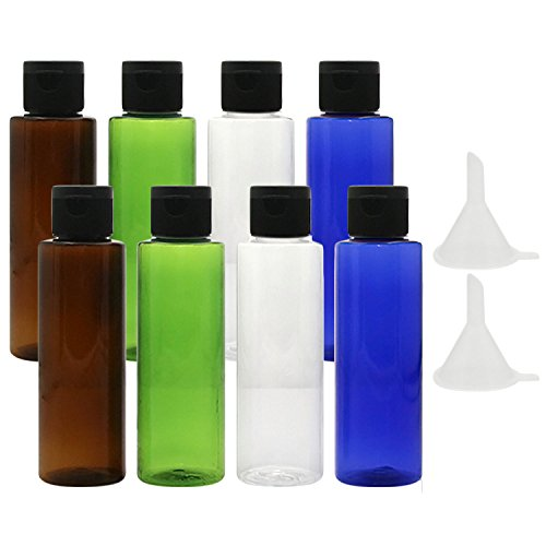 8 PCs 30ml assortiment couleurs en plastique vol bouteilles de voyage ensemble lotion douche gel Shampooing Container avec 2 petits entonnoir pour Flight Airport Holiday