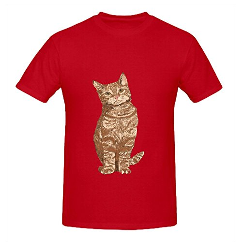 orange-tabby-cat-cute-sitting-mens-crew-neck-casual-t-shirts-red