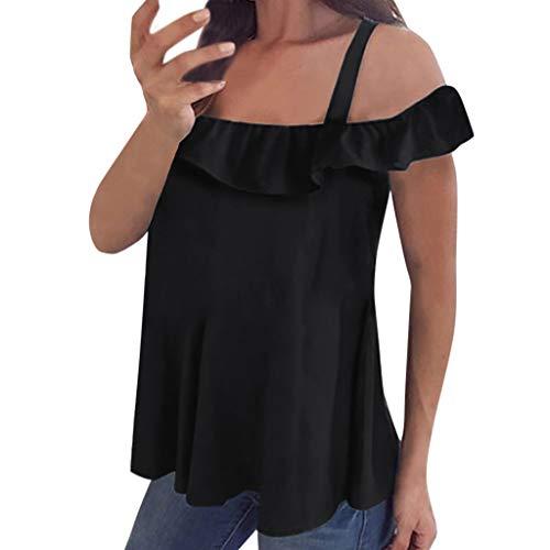 POPLY Damen Tops Tank Frauen Sling T-Shirt Sommer Oberteile Schulterfrei Einfarbiges Tanktops Weste Kurzarm mit Rüschen(Schwarz,M) (Ralph Lauren Polo 1 4 Pullover)
