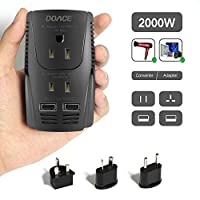 ‏‪DOACE C11 2000W Travel Voltage Converter for Hair Dryer Straightener, Flat Iron, Set Down 220V to 110V, 10A Power Adapter with 2-port USB, EU/UK/AU/US Plug for Laptop, Camera, Cell Phone‬‏