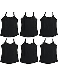 V D Sales, Pack of 6 Plain Black Cotton Slips for Girls