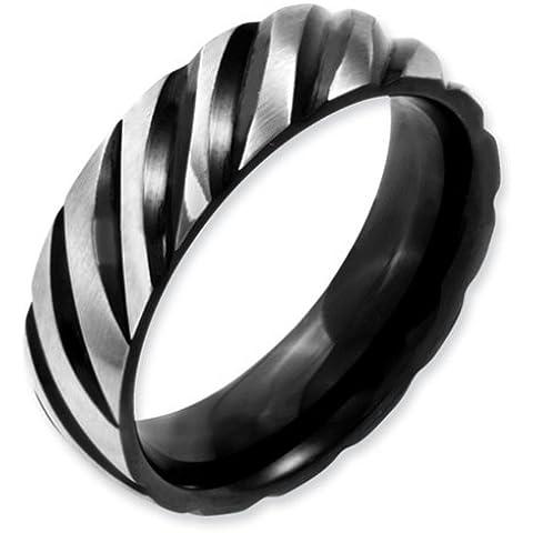 Icecarats Designer Di Gioielli Dimensione 6.5 Acciaio 6 Millimetri Nero Ip-Plated Swirl Spazzolato Lucido Banda