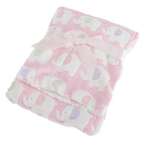 Couverture pour poussette à motifs éléphants - Bébé (75cm x 100cm) (Rose)
