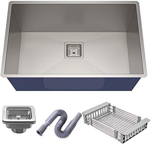 10x Luxury Kitchen Sink, 1.2 mm Thickness, 24x18 x9-Inch (Silver)