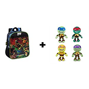 41wCf7hSODL. SS300  - NTT Tortugas ninja - Pack Mochila 28cm + 4 peluches 21cm Calidad super soft: Michelangelo (naranja) + Donatello (lila) + Raphael (rojo) + Leonardo (azul)