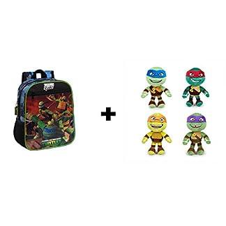 Tortugas ninja – Pack Mochila 28cm + 4 peluches 21cm Calidad super soft: Michelangelo (naranja) + Donatello (lila) + Raphael (rojo) + Leonardo (azul)