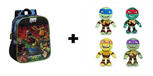 Das Teenage Mutant Ninja Turtles - Pack 28cm Rucksack + 4 Plüsch 21cm Super weiche Qualität: Michelangelo (orange) + Donatello (violett) + Raphael (rot) + Leonardo (blau)
