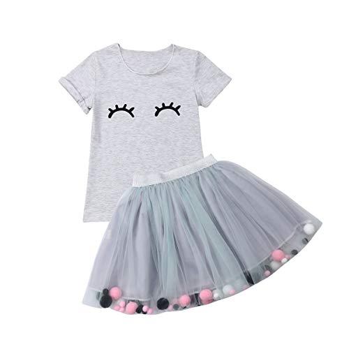 Frecoccialo Baby Mädchen 2PCS Kleidung Set Kurzarm Rundhals T-Shirt Bunte Kugel Tüll Tutu Rock Outfits Set Säugling Bekleidungsset