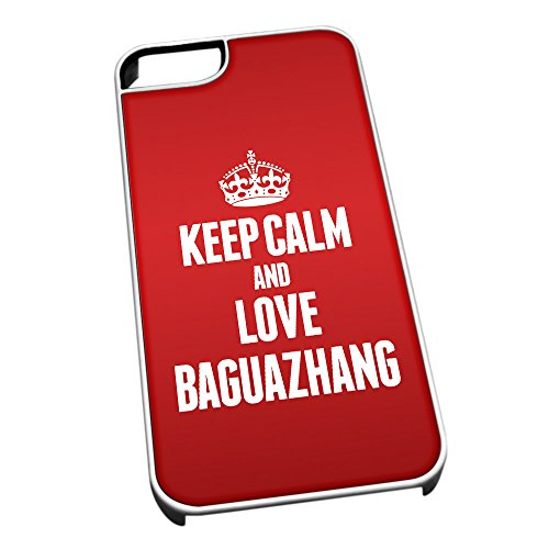 Duke Gifts Bianco Cover per iPhone 5/5S 1690 Red Keep Calm And Love Baguazh