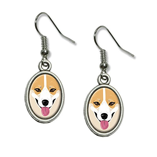 – Yellow Dog Pet Neuheit Dangling Drop oval Charm-Ohrringe (Corgi Kostüme)