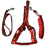 PET CLUB51 Combo Dog Print Harness WO PAD with Rope -XS-RED-Puppy Dogs