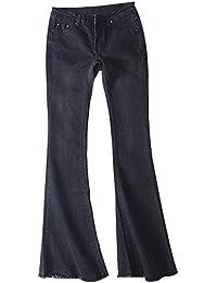 Petalum Damen Jeans Elegant Lady Fashion Retro Stil Bootcut Schlajeans Weites Bein Casual Jeanshose Maxihose Hippie 70er Party Outfit