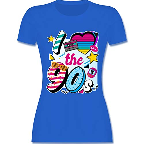 Statement Shirts - I Love The 90s bunt - M - Royalblau - L191 - Damen Tshirt und Frauen T-Shirt -