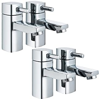 Pair Of Bathroom Bath Filler Taps & A Pair Of Basin Sink Taps Set (ICE 32) by Grand Taps