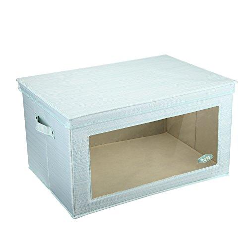 Aufbewahrungsboxen mit Fenster, Mee'life Lagerung Große Mega Box Faltbare dicke Polyester Stoff Aufbewahrungsbox Koffer Container mit Deckel Dual Griffe Organizer Tasche für Kleidung Decke (hellgrün) (Große Schachteln Box)